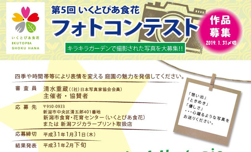 第5回いくとぴあ食花フォトコンテスト作品募集中!!